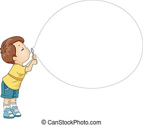 Kid Boy Blowing Bubble Toy - Mascot Illustration of a Boy...