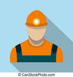 Coal miner flat icon on a light blue background