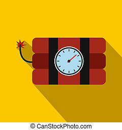 Bomb with clock timer flat icon