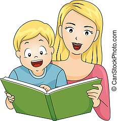 Kid Happy Boy Mom Read Book