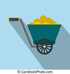 Trolley with gold ore flat icon on a light blue background