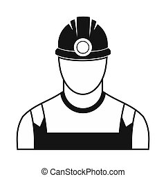 Coal miner black simple icon isolated on white background