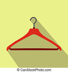 Red coat hanger flat icon on a yellow background
