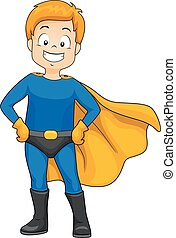 Kid Happy Boy Wear Super Hero - Illustration of a Happy Boy...