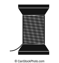 Thread bobbin icon - Thread bobbin black simple icon...
