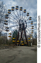 carousel in Pripyat - carousel in old ruined abandoned city...