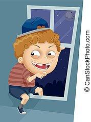 Kid Boy Sneak Out Window - Illustration of a Kid Boy Trying...