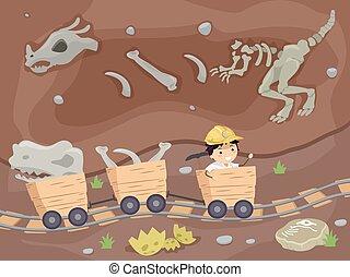 Chłopiec, górnictwo, skamieniałości, metro,  stickman, koźlę