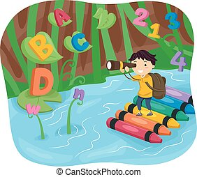 Kid Boy Stickman River Adventure - Stickman Illustration of...