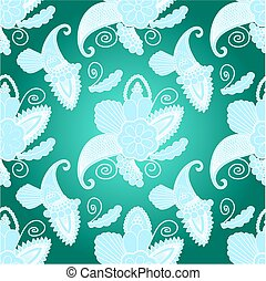seamless pattern with paisley on blue background