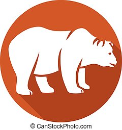 wild bear flat icon (grizzly bear)