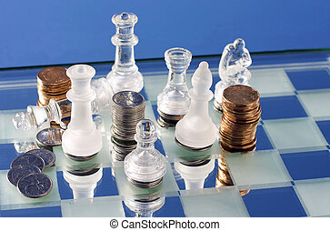 Chess and Money - A photo of a chess board and pieces with...
