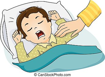 Kid Boy Sleeping Hand - Illustration of a Mothers Hand...