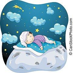 Kid Boy Sleeping Moon - Illustration of a Kid Boy Dreaming...