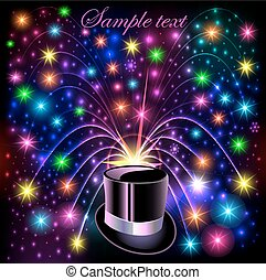 illustration background festive bright shiny hat and bright glowing fireworks