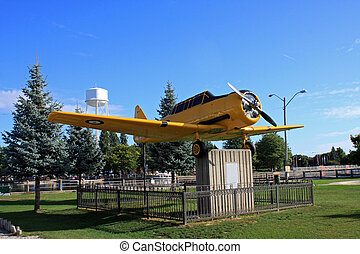 The Yellow Pearl - Vintage World War II airplane on display...