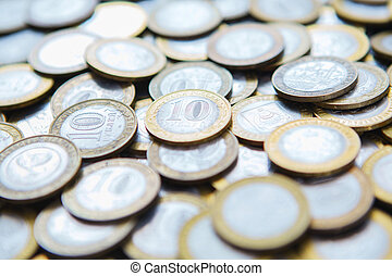 background of many different coins rubles - background of...