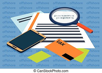 Magnifying Glass Offshore Panama Papers Folder Documents
