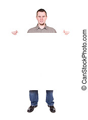 man with board - casual man holding banner over white...