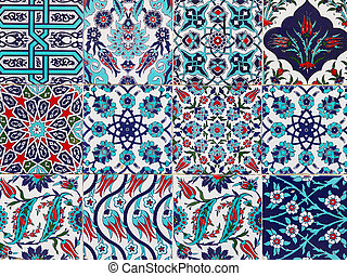 Handmade Turkish Blue Tiles on the wall in Istanbul City,...