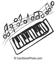 doodle piano keys and music notes