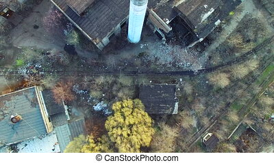 Flying over the abandoned factory - Flying over the old...