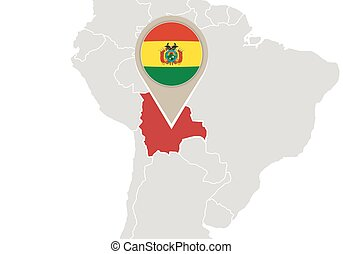 Bolivia on World map - Map with highlighted Bolivia map and...