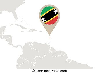 Saint Kitts and Nevis on World map - Map with highlighted...