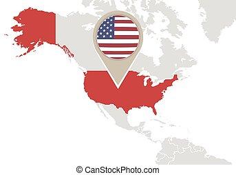 United States on World map