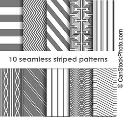 10 Seamless striped vector patterns