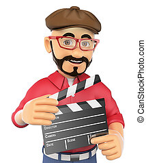 3D Film director with a clapperboard