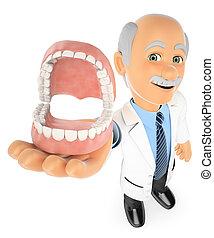 3D Dentist showing a denture - 3d medical people. Dentist...