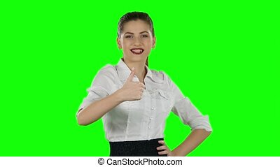 Happy businesswoman showing thumbs up Green screen - Happy...