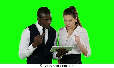 Successful businessman people winning competition. Green...