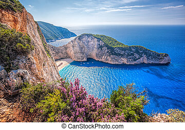 Navagio beach with shipwreck and flowers against sunset on...