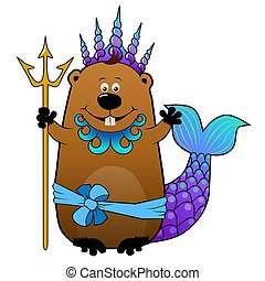 Funny beaver Neptune Poseidon - Funny cartoon beaver in...