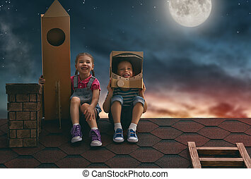 niños, juego, astronautas,
