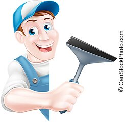 Window Cleaner Holding Squeegee - A cartoon window cleaner...
