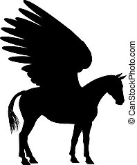 Pegasus Silhouette - Pegasus mythical winged horse in...
