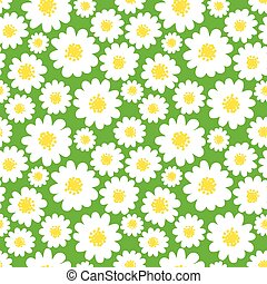 White daisies seamless pattern