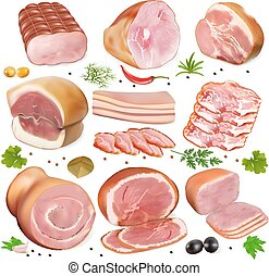 illustration of a set of different kinds of meat