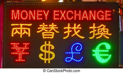 Currency exchange - Neon sign for currency exchange in...