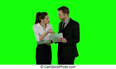 Office conflict. Green screen