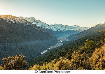 Mountain landscape in Glenorchy, New Zealand