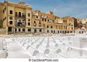 Jewish cemetery in Fez, Morocco - White chalked tombstones...