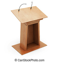 Podium tribune with microphones isolated on white background. 3d