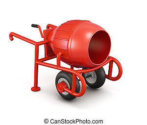 Manual mortar mixer isolated on white background 3d...