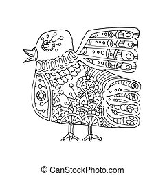 ethnic totem bird, hand drawn vector illustration