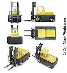 Set of forklift isolated on white background. 3d render image