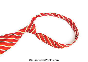 Red tie knot on white background - Closeup of red tie knot...
